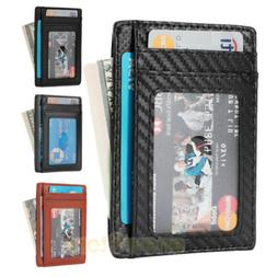 Front Pocket Wallet Leather RFID Blocking ID Slim Credit Car