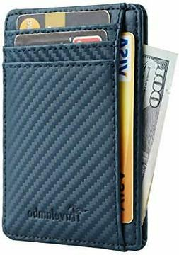 Travelambo Front Pocket Wallet Minimalist Leather Slim Money