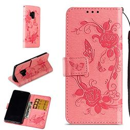 Galaxy S9 Case, ZERMU Premium PU Leather Flower Butterfly Pa