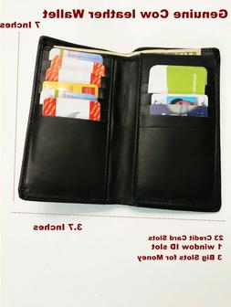 Genuine Cow Leather Long Bifold Wallet ID card Purse Checkbo