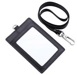 Genuine Leather 2-Sided ID Badge Holder with Lanyard, Card H