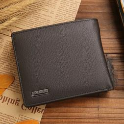 Genuine Leather Bifold Mens Wallet With Middle Flap ID Windo