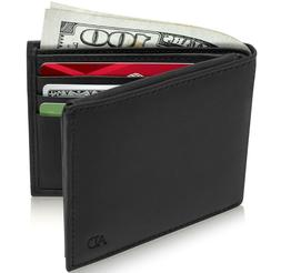 New Genuine Leather Wallets For Men Slim Minimalist Bifold W