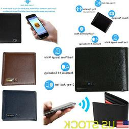 genuine leather bluetooth smart wallet anti lost