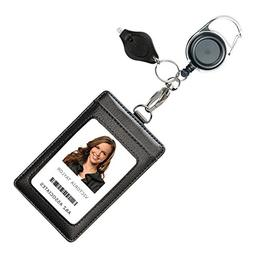 Genuine Leather ID Badge Holder Wallet with Heavy Duty Carab