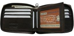AG Wallets Mens Leather Zip Around Brown Bifold Wallet Cente