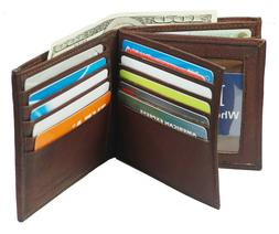 Genuine Leather Mens Bifold 2 ID's multi Card Double Flap Po