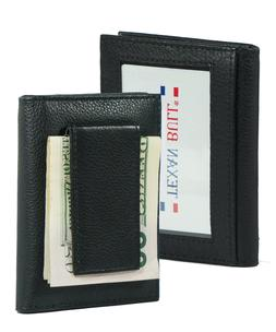 Mens Genuine Leather Money Clip Slim Wallet Magnetic Brown I