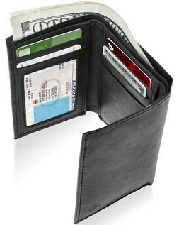 Genuine Leather Slim Trifold Wallet For Men With ID Window R