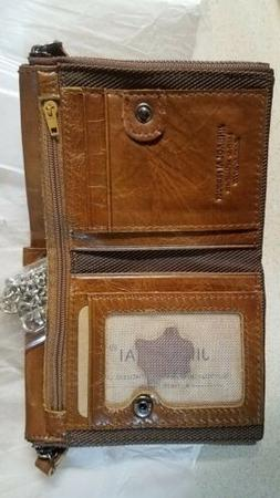 Genuine leather wallet brown with coin pocket purse for men