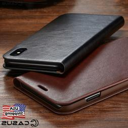 genuine leather wallet card flip cover case