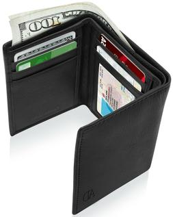 Genuine Leather Wallets For Men Trifold Mens Wallet With ID