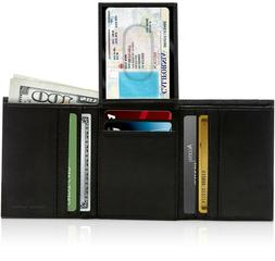 Genuine Leather Wallets For Men Trifold Wallet With Flip-Up