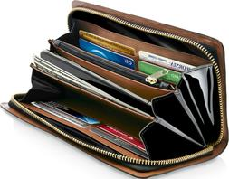 Genuine Leather Wallets For Women's Ladies Clutch Accordion