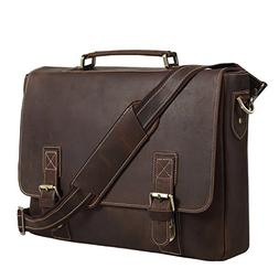 Texbo Men's 16 Inch Full Grain Cowhide Leather Laptop Briefc