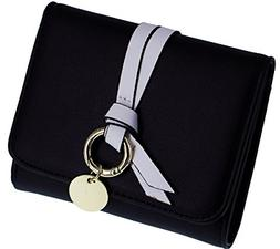 ABC STORY Girls Small Cute Wallet for Women Black Leather Tr