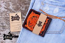 hand tooled money clip leather engraved wallet