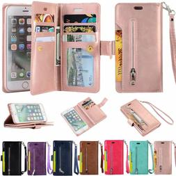 For iPhone 11 6S 7/8 +XS Max XR Card Wallet Leather Stand Zi