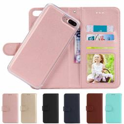 For iPhone 8/7/6 Plus XS Flip Leather Magnetic Back Removabl