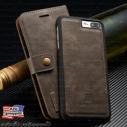 For iPhone 8/7/6s Plus Leather Wallet Magnetic Removable Fli
