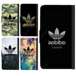iphone X 8 7 6 6S plus 5 5S SE Adidas Logo Pu Leather Flip w