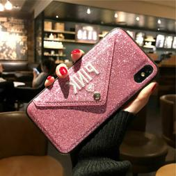 For iPhone X XS Max XR X 6S 8 7 Plus Bling Card Holder Walle