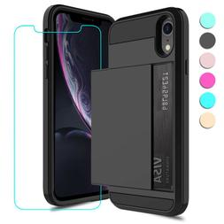 For iPhone XR Case Shockproof TPU Card Wallet Pocket Cover w