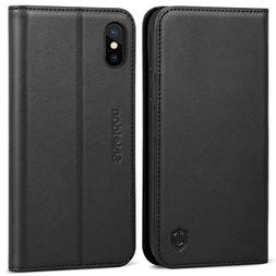 iPhone Xs Case, SHIELDON Genuine Leather iPhone Xs Wallet Fo