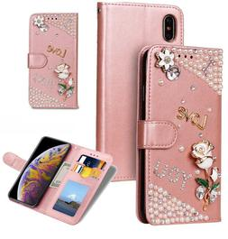 For iPhone Xs Max Bling Glitter Crystal Rose Wallet Leather