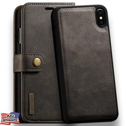 For iPhone XS MAX XR Leather Removable Wallet Magnetic Flip