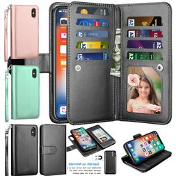 For iPhone 11 Pro Max /Xs Max /Xs/ Xr Leather Wallet Credit