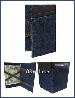 J CREW INSIDE OUT MAGIC WALLET DARK DENIM WASH FABRIC W/BROW