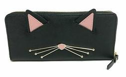 Kate Spade Cat's Meow Lindsey Black Leather Zip Around Wal