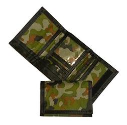 Kids Army Camouflage Wallet Compartment Nylon Trifold Young