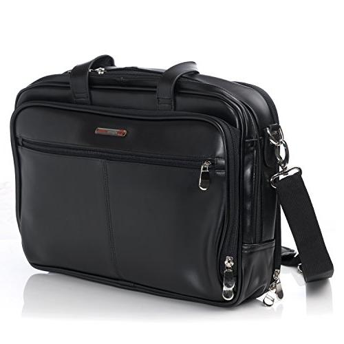 Alpine Swiss Monroe Leather Briefcase Top-Zip Laptop Messeng