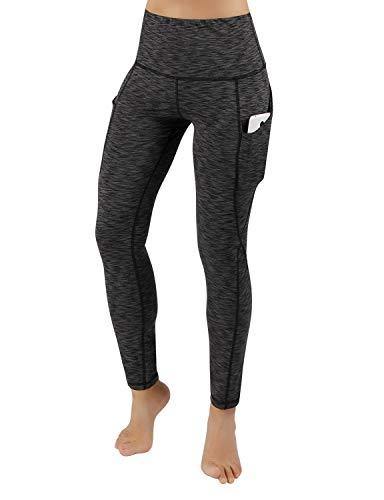 ODODOS High Out Pocket Tummy Control Way Leggings,SpaceDyeCharcoal,X-Large