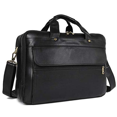 Texbo Men's Solid Full Grain Leather 16 Inch Laptop Briefcas