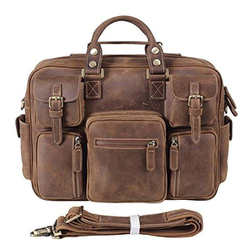 Texbo Vintage Genuine Cowhide Leather Messenger Briefcase Sh