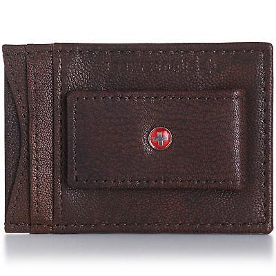 AlpineSwiss Leather Money Clip Magnet Wallet ID Case
