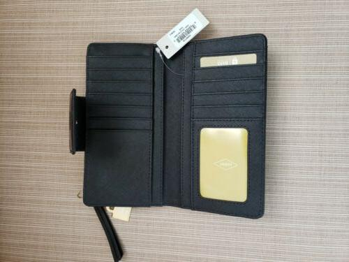 FOSSIL Authentic Emma Leather Clutch Black
