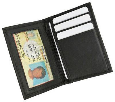 black mens leather bifold wallet id credit