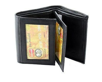 Black Mens Trifold Genuine Leather Wallet Window ID Pockets