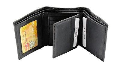 Black Leather Wallet Window Pockets Holder Cards