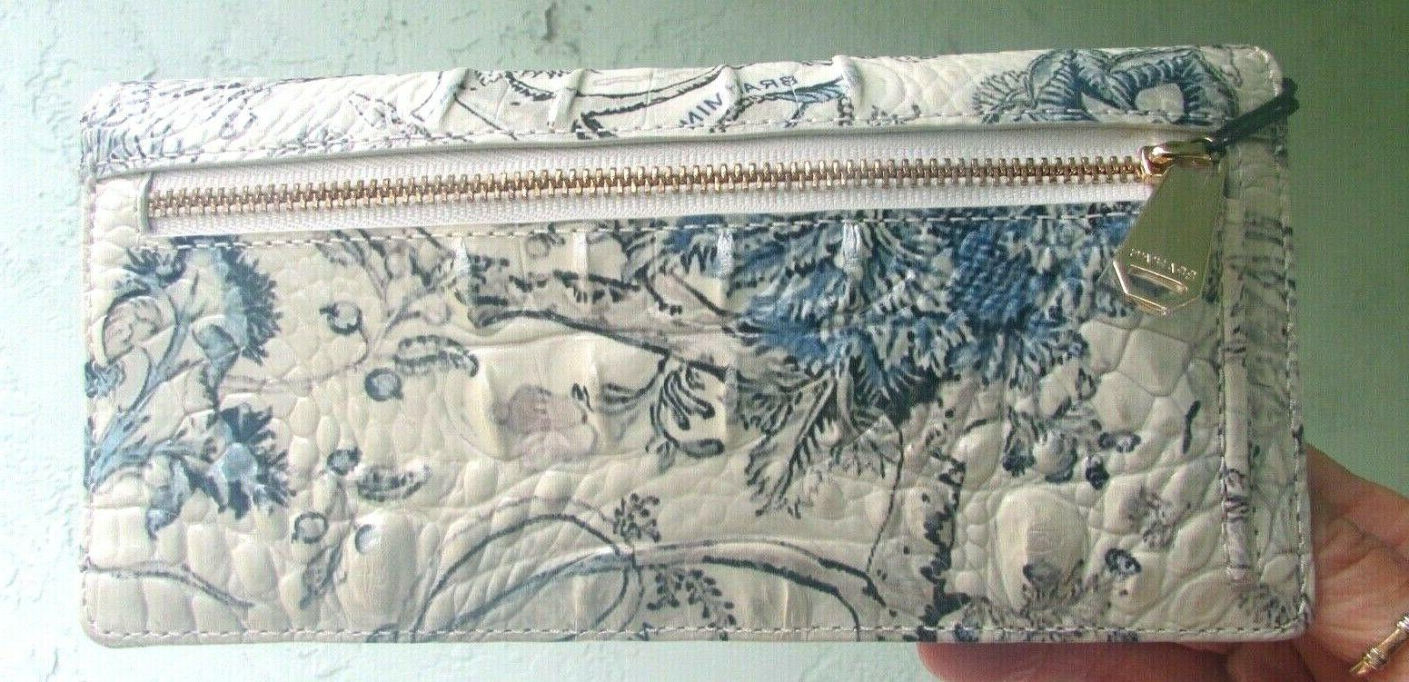 BRAHMIN ADY BLUE TOILE FLORAL PRINT LEATHER CLUTCH NEW
