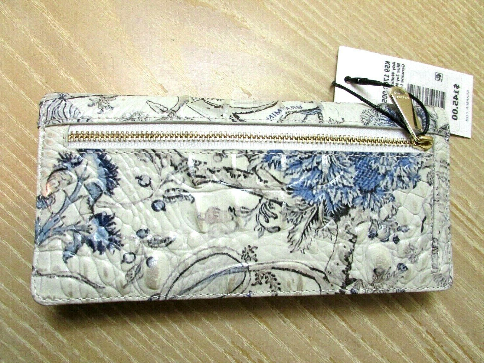 BRAHMIN ADY TOILE FLORAL LEATHER SLIM NEW