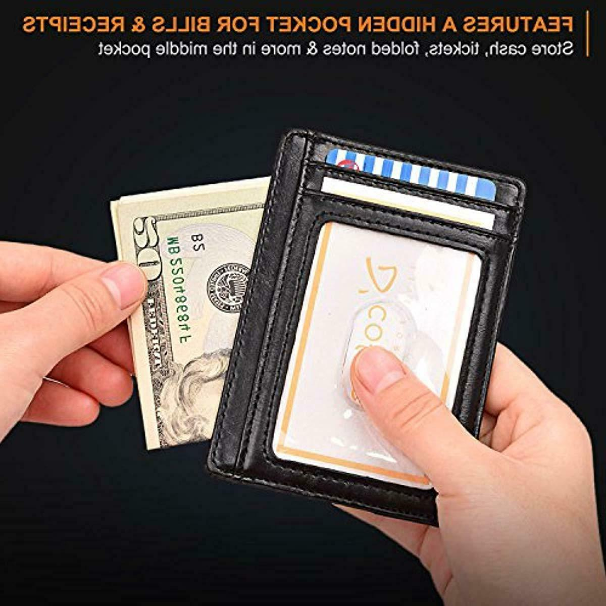 Buffway Slim RFID Genuine Leather Wallets for