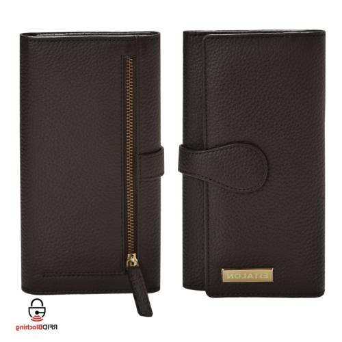 Checkbook-Wallets for Women RFID Blocking - Brown Real Leath