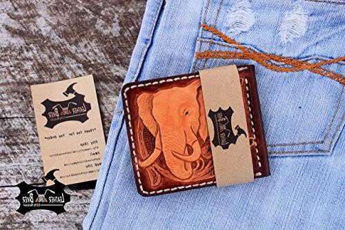 elephant leather money clip wallet hand tooled