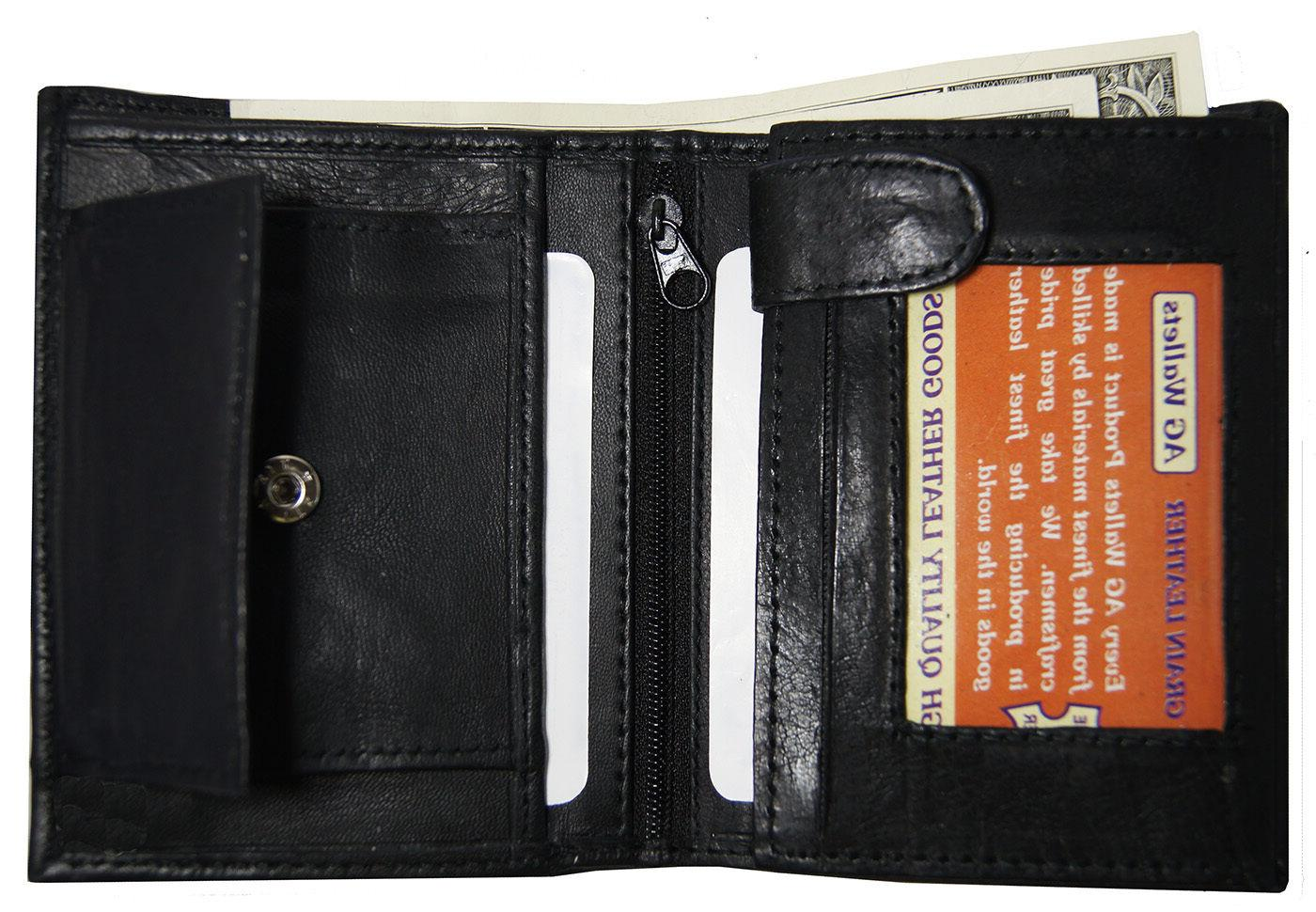 AG Wallets Leather Trifold Multi Card ID Holder Black