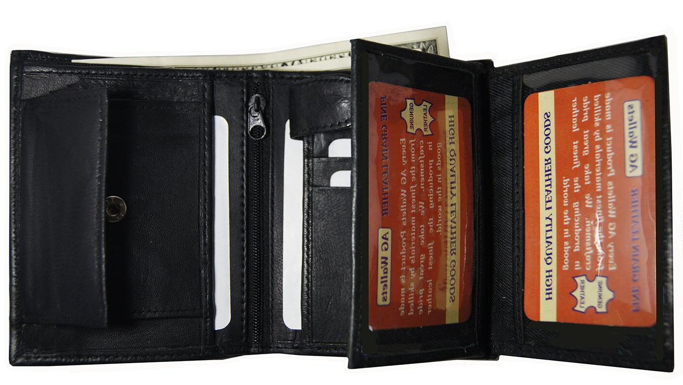 AG Wallets Trifold Card And ID Black